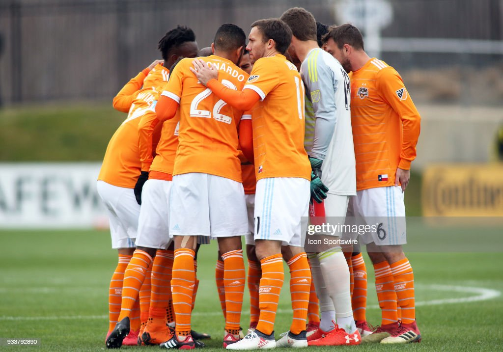 Houston Dynamo huddles up during a match between D.C. United and the Houston Dynamo on March 17, 2018, at Maryland SoccerPlex in Boyds, MD.