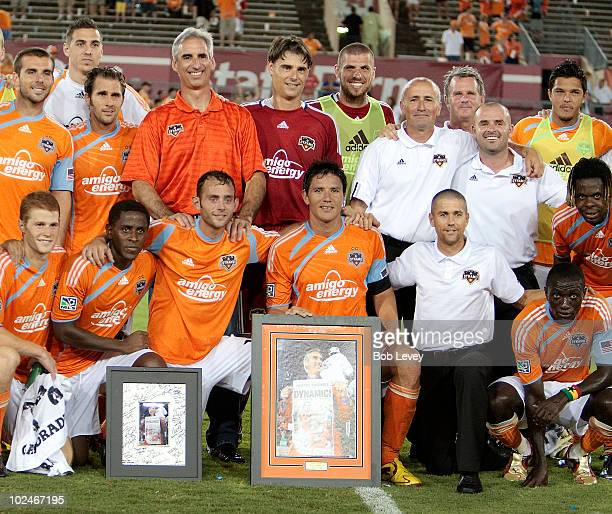 Houston Dynamo President/GM Oliver Luck is honored after the game against the Colorado Rapids at Robertson Stadium on June 26 2010 in Houston Texas...