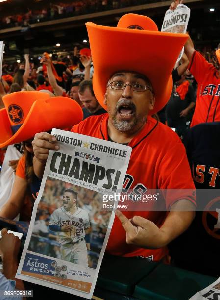 Houston fans celebrate after the Houston Astros defeated the Los Angeles Dodgers in Game 7 of the World Series during a Houston Astros World Series...