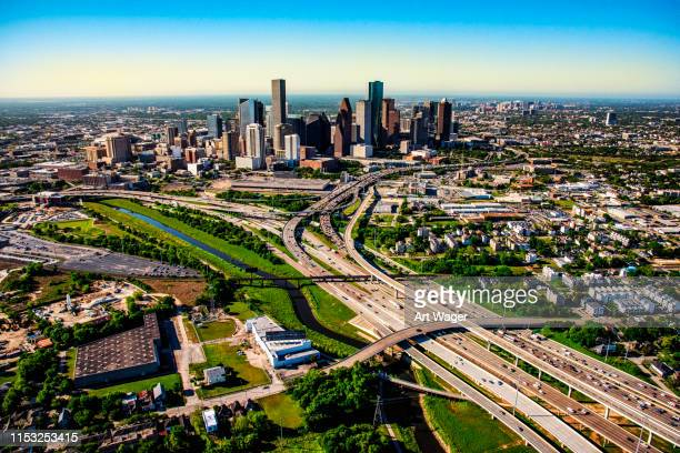 houston from above - urban sprawl stock pictures, royalty-free photos & images