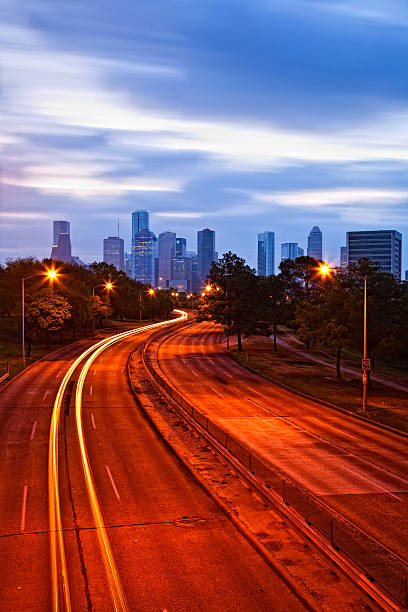 Houston, Highway By Night And Skyline Wall Art