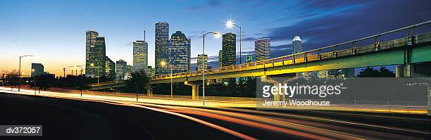 Houston highway with city in background