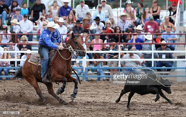 Houston Hutto competes in the Tie Down Roping at the Prescott Frontier Days World's Oldest Rodeo on July 5 2014 in Prescott Arizona