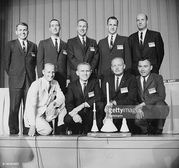 NASA announced the names of nine new astronauts at a press conference here Here with the models of Mercury Apollo and Gemini space crafts are rear LR...