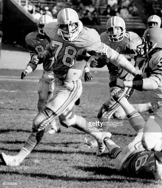 Houston Oilers defensive tackle John Matuszak tries to shed a blocker during a 1342 loss to the Cleveland Browns on October 21 at Cleveland Municipal...