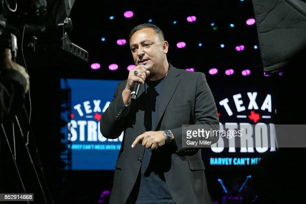 """Houston police chief Art Acevedo speaks during the """"Texas Strong: Hurricane Harvey Can't Mess With Texas"""" benefit at The Frank Erwin Center on..."""