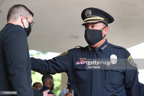 Houston Police Department Chief Art Acevedo arrives for the funeral of George Floyd at the Fountain of Praise church on June 9, 2020 in Houston,...