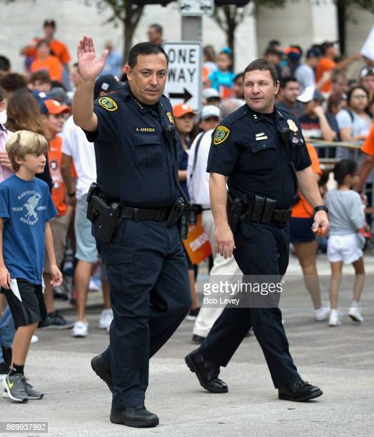 Houston Police Department Chief Art Acevedo waves to the crowd during the Houston Astros Victory Parade on November 3, 2017 in Houston, Texas. The...