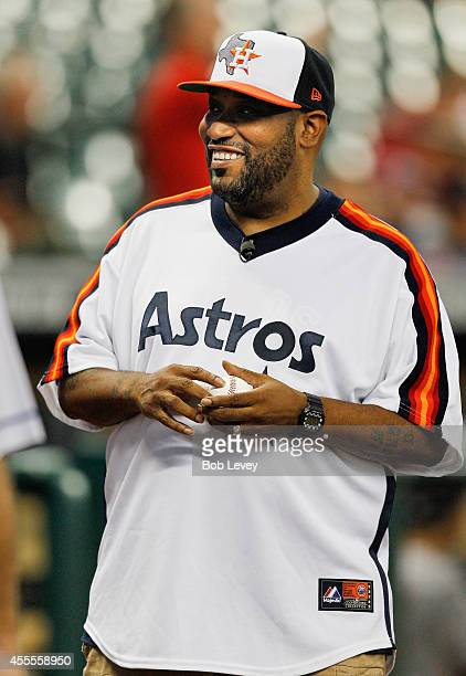 Houston rapper Bun B throws out first pitch at Minute Maid Park on September 16 2014 in Houston Texas