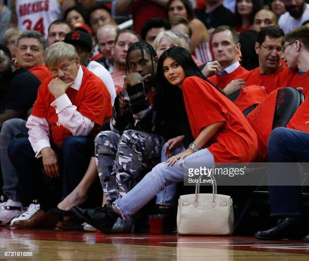 Houston rapper Travis Scott and Kylie Jenner watch courtside during Game Five of the Western Conference Quarterfinals game of the 2017 NBA Playoffs...