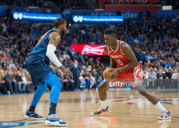 Houston Rockets Center Clint Capela looking to make his move versus Oklahoma City Thunder at the Chesapeake Energy Arena Oklahoma City OK