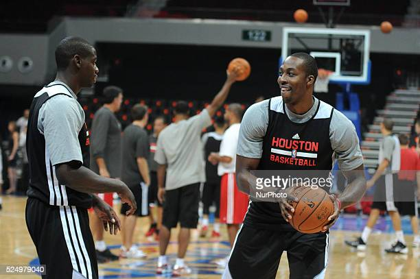 Houston Rockets center Dwight Howard moves the ball during their practice session and media day in Pasay city Metro Manila Philippines October 8 2013...