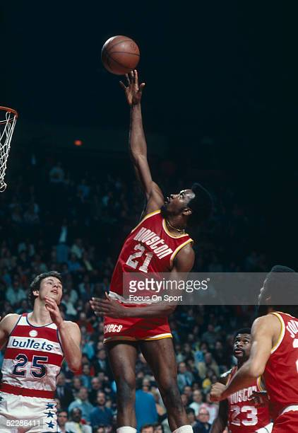 Houston Rockets' center Moses Malone goes up for a shot during a game against the Washington Bullets at Capital Centre circa 196777 in Washington DC