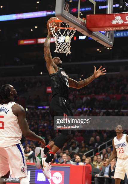 Houston Rockets Center Tarik Black dunks the ball during an NBA game between the Houston Rockets and the Los Angeles Clippers on January 15 2018 at...