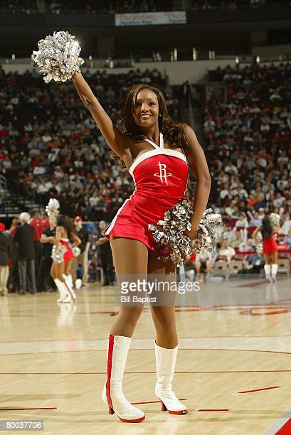 Houston Rockets dance team member performs during the game against the Miami Heat on February 21 2008 at the Toyota Center in Houston Texas The...