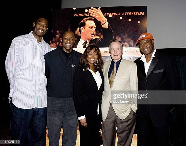 Houston Rockets Dikembe Mutombo former Houston Rocket Clyde Drexler guest and David Lattin joined President George HW Bush as he hosted a Private...