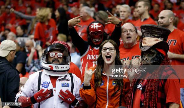 Houston Rockets fans cheer before the game during Game One of the first round of the 2019 NBA Western Conference Playoffs between the Houston Rockets...