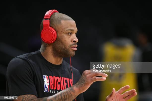 Houston Rockets forward P.J. Tucker wears his beats headphones before the Houston Rockets vs Los Angeles Lakers game on February 06 at Staples Center...