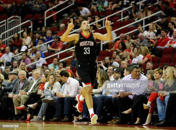 Houston Rockets forward Ryan Anderson celebrates after a three point shot against the Chicago Bulls in the first half at Toyota Center on March 27...
