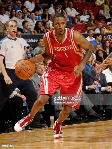 Houston Rockets forward Trevor Ariza dribbles against the Orlando Magic during a preseason game on October 9 2009 at Amway Arena in Orlando Florida...