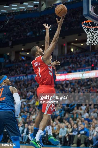 Houston Rockets Forward Trevor Ariza laying the ball up for two points versus Oklahoma City Thunder at the Chesapeake Energy Arena Oklahoma City OK