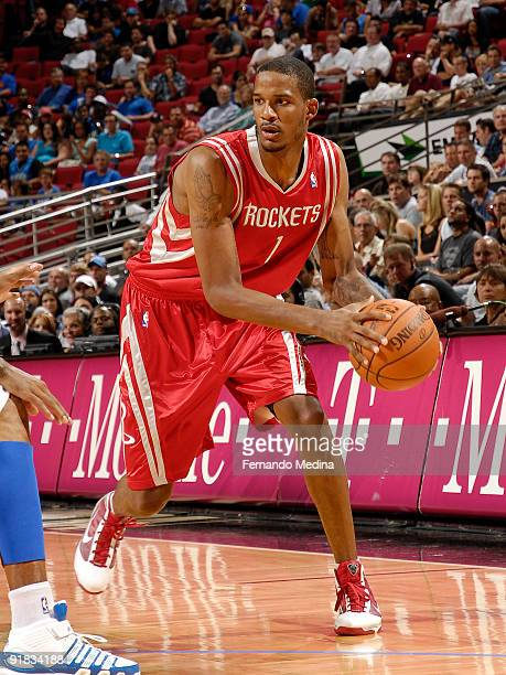 Houston Rockets forward Trevor Ariza moves the ball against the Orlando Magic during a preseason game on October 9 2009 at Amway Arena in Orlando...