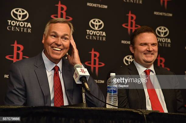 Houston Rockets GM Daryl Morey and Mike D'Antoni are interviewed as the Rockets announce D'Antoni as their new head coach on June 1 2016 at Toyota...