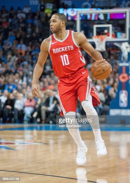 Houston Rockets Guard Eric Gordon looking for a play versus Oklahoma City Thunder at the Chesapeake Energy Arena Oklahoma City OK