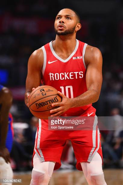 Houston Rockets Guard Eric Gordon shoots a free throw during a NBA game between the Houston Rockets and the Los Angeles Clippers on October 21 2018...