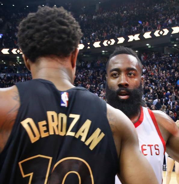 5ae9b477385 Houston Rockets guard James Harden (13) and Toronto Raptors guard DeMar  DeRozan (10