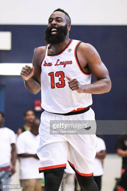 Houston Rockets guard James Harden celebrates his triple double during a Drew League game at Los Angeles Southwest College on August 5th 2017