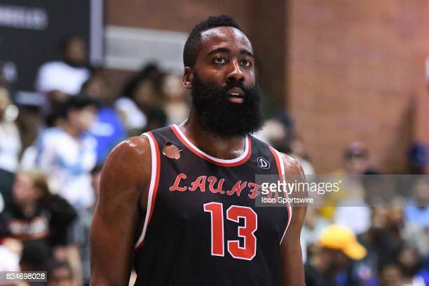 Houston Rockets guard James Harden looks on during a Drew League game at King Drw Magnet High School on July 30th 2017