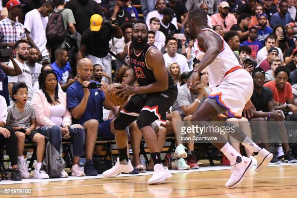Houston Rockets guard James Harden looks to attack during a Drew League game at King Drw Magnet High School on July 30th 2017