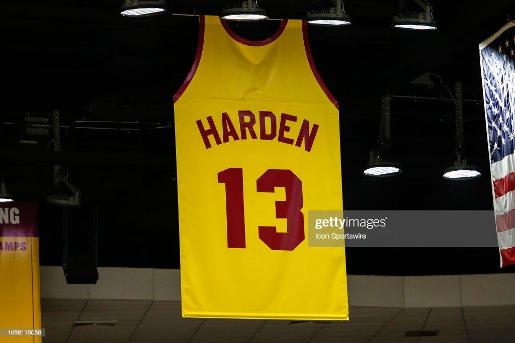 best sneakers b78ba 0b936 Houston Rockets guard James Harden's retired jersey hangs ...