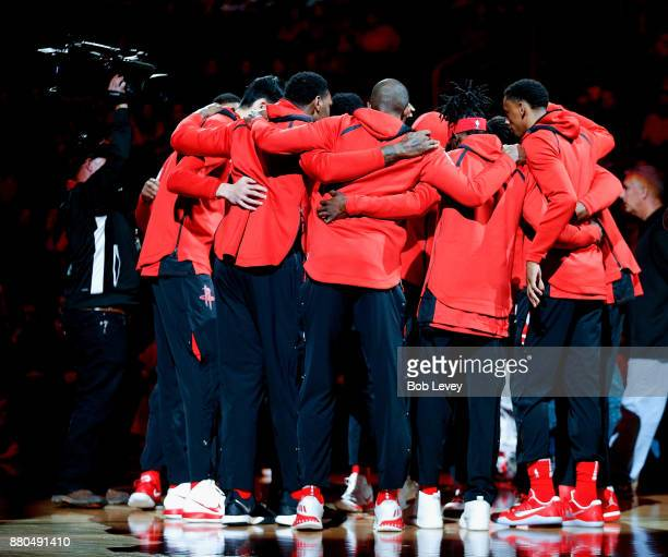Houston Rockets huddle after player introduction at Toyota Center on November 22, 2017 in Houston, Texas. NOTE TO USER: User expressly acknowledges...