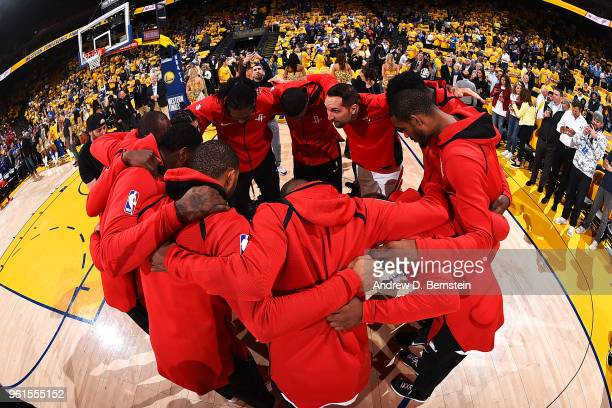 Houston Rockets huddle before Game Four of the Western Conference Finals during the 2018 NBA Playoffs on May 20 2018 at ORACLE Arena in Oakland...