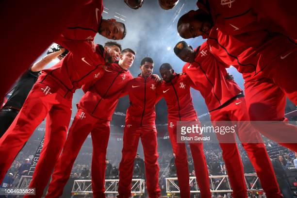 Houston Rockets huddle before the game against the Detroit Pistons on November 23 2018 at Little Caesars Arena in Detroit Michigan NOTE TO USER User...