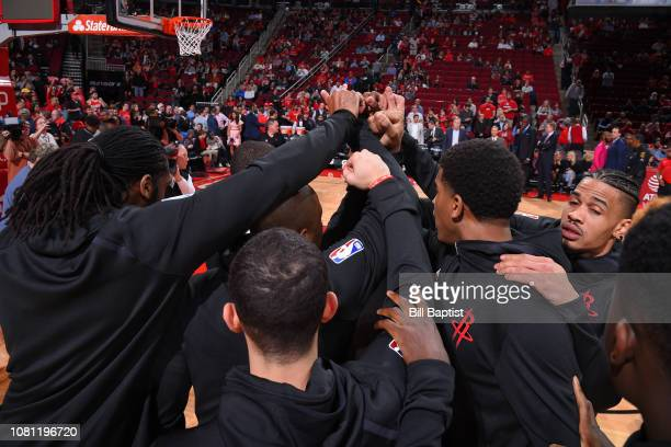 Houston Rockets huddle up before the game against the Cleveland Cavaliers on January 11 2019 at the Toyota Center in Houston Texas NOTE TO USER User...
