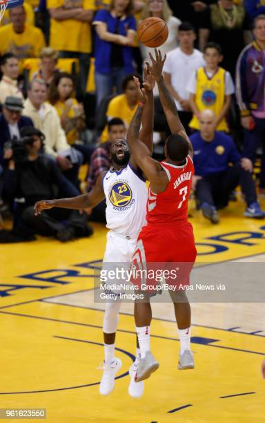 OAKLAND CA MAY 20 Houston Rockets' Joe Johnson takes a shot against Golden State Warriors' Draymond Green in the fourth quarter of Game 3 of the NBA...
