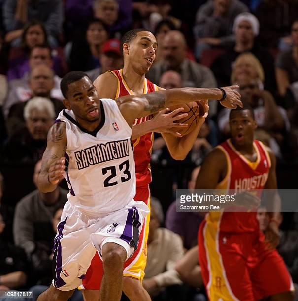 Houston Rockets Kevin Martin steals the ball in front of Sacramento Kings guard Marcus Thornton in the 2nd quarter at Power Balance Pavilion in...