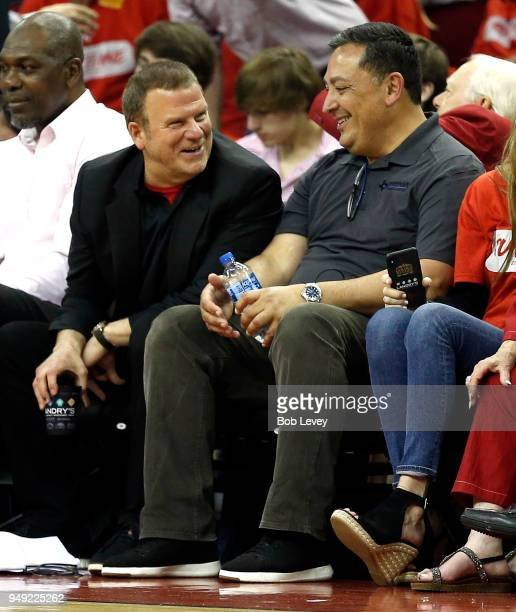 Houston Rockets owner chats with Houston Police chief Art Acevedo during Game Two of the first round of the Western Conference playoffs at Toyota...