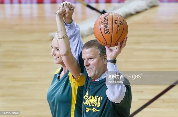 Houston Rockets Owner Tilman Fertitta and Santa Fe High School Principal Rachel Blundell take part in pregame ceremonies prior to Game Five of the...
