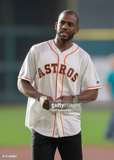 Houston Rockets point guard Chris Paul threw the first pitch during the MLB game between the Minnesota Twins and Houston Astros on July 14, 2017 at...