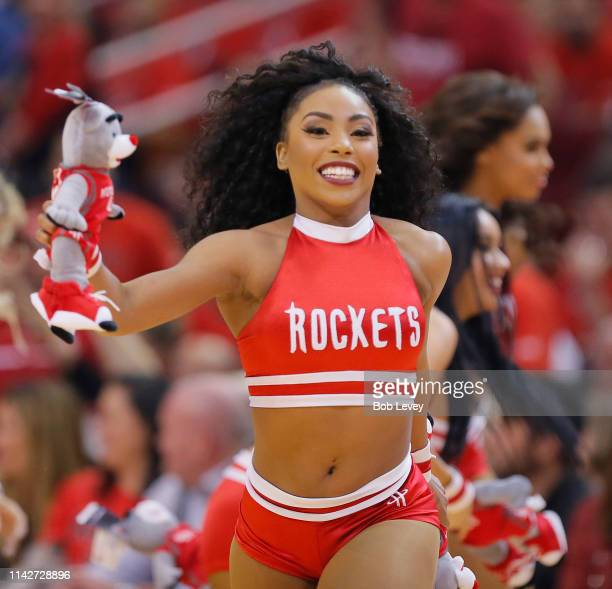 Houston Rockets Power Dancers perform during Game One of the first round of the 2019 NBA Western Conference Playoffs between the Houston Rockets and...