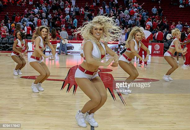 Houston Rockets Power Dancers perform during the Brooklyn Nets and Houston Rockets game at Toyota Center on December 12 2016 in Houston Texas NOTE TO...