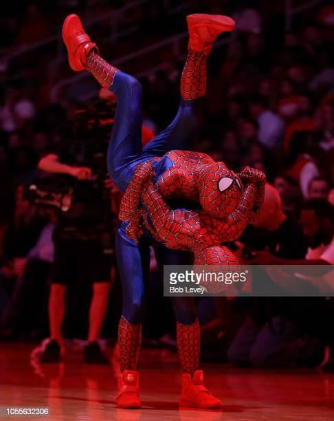 Houston Rockets Power Dancers perform in Spiderman outfits on this Halloween eve during a basketball game between the Portland Trail Blazers and...