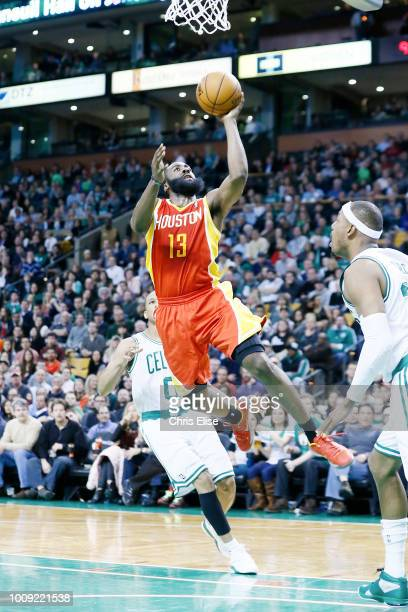 Houston Rockets shooting guard James Harden goes for the layup against Boston Celtics small forward Paul Pierce during the Boston Celtics 10391...