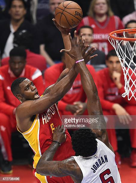 Houston Rockets Terrence Jones shoots against Los Angeles Clippers DeAndre Jordan in game three of their playoff series at the Staples Center in Los...