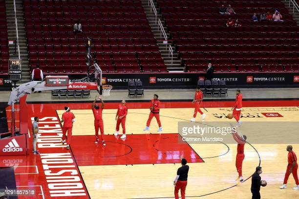 Houston Rockets warm up prior to facing the San Antonio Spurs at the Toyota Center on December 17, 2020 in Houston, Texas. NOTE TO USER: User...