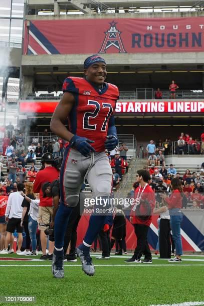 Houston Roughnecks cornerback Ajene Harris enters the field before the football game between the St Louis Battlehawks and Houston Roughnecks at TDECU...